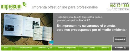 Impresum: imprenta online que respeta el medio ambiente