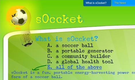 soccket - sOccket: el balón de fútbol que genera energía eléctrica