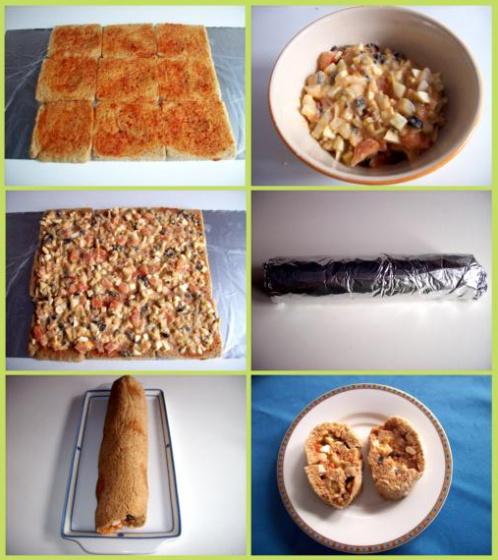 rollito de  sandwich vegetariano
