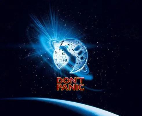 """dont panic - Guía del autoestopista galáctico de Douglas Adams: la respuesta más irónica a todas las preguntas sobre """"la vida, el universo y todo lo demás"""""""