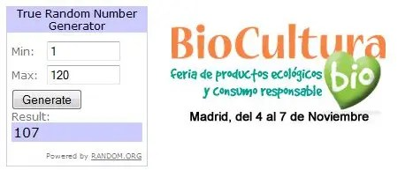 Ganadores sorteo Biocultura Madrid 2010