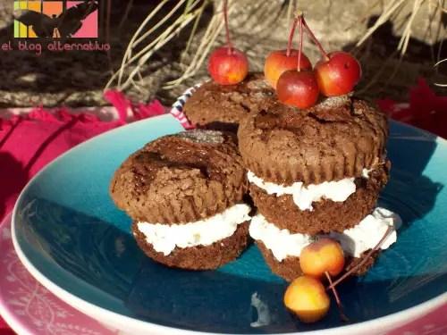 magdalenas de chocolate rellenas de mascarpone