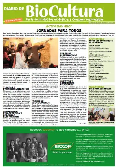 """biocultura - Diario BioCultura Barcelona 2011 en pdf: 20 páginas con información sobre el mundo """"bio"""""""
