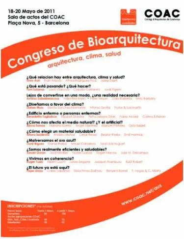 congreso de bioarquitectura - Congreso de Bioarquitectura en el Colegio de Arquitectos de Barcelona: arquitectura, clima y salud