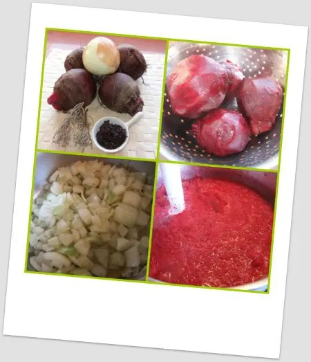 Collage de Picnik - receta de crema remolacha con tomillo y miso