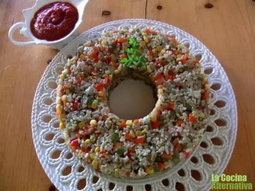 corona de arroz con verduritas al wok