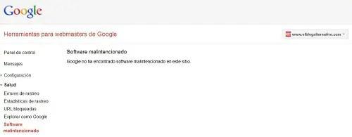 Captura Herramientas Webmaster Google - Ya está solucionado. El Blog Alternativo funciona correctamente