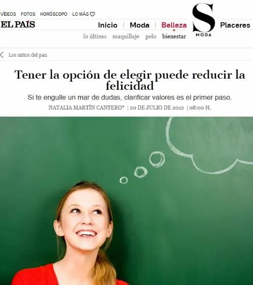 smoda decisiones - Citan mi libro en un artículo de El País SModa sobre las decisiones y la felicidad