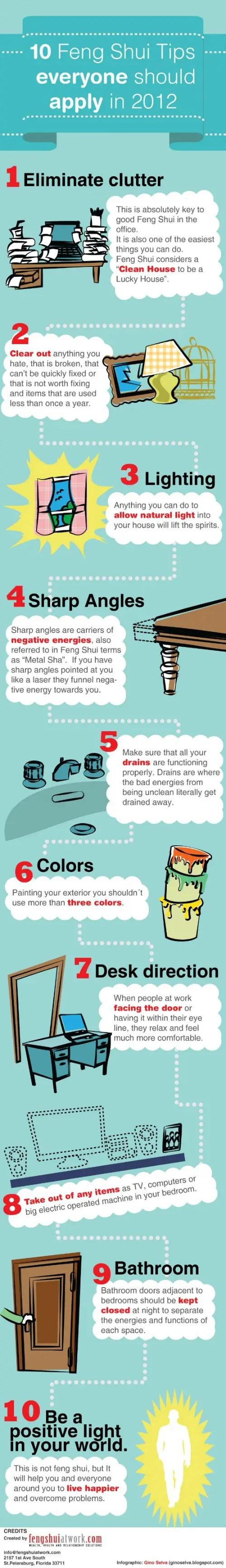 feng shui tips infographic small - 10 consejos básicos de Feng Shui para ser más feliz (infografía)