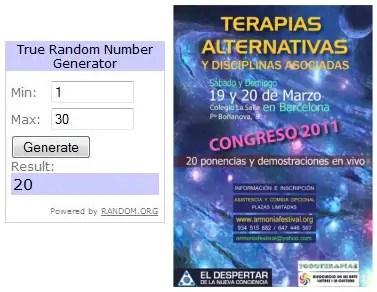 Ganadores sorteo 10 entradas Congreso Terapias Alternativas Barcelona 2011 - Ganadores sorteo 10 entradas Congreso Terapias Alternativas Barcelona 2011