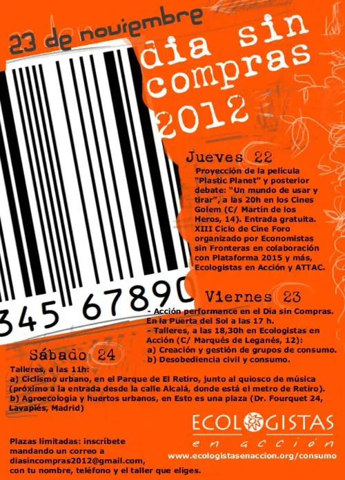 CARTEL DIA SIN COMPRAS 20121 - DÍA SIN COMPRAS 2012: más consumo responsable y menos inconsciencia