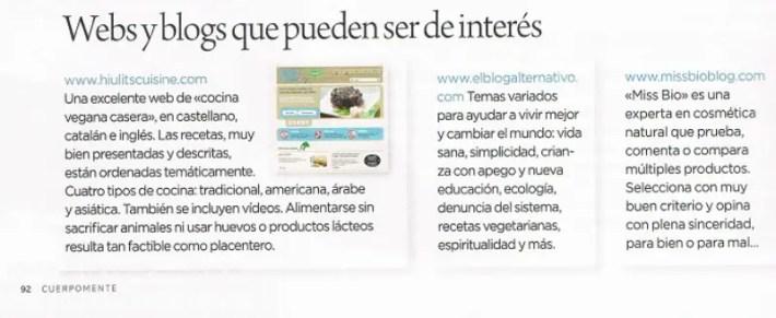 cm2 - Recomiendan El Blog Alternativo en la revista CuerpoMente nº 261