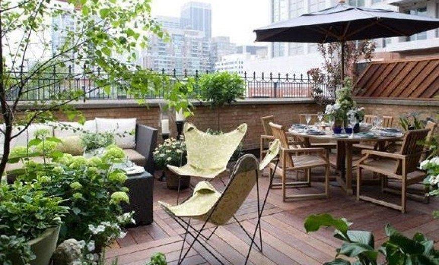 terraza decoradamente con plantas, mesa con sillas y sillón