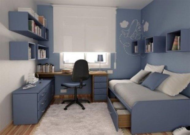habitación en blanco, gris y azul