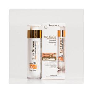 Frezyderm Velvet Sunscreen Color proporciona un bonito color y la piel del rostro queda suave, sedosa y con un excelente tono natural.