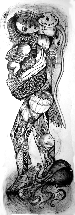 "Yvette Mangual; Madre #2; Ink on paper; 60"" x 20"""