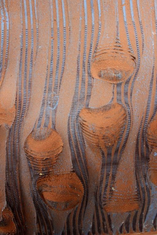 """Joyce Kohl; Blue impline; ceramic; 15' x 12"""" x 2"""""""