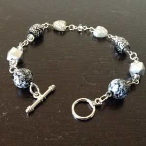 Silver look sparkly bead bracelet
