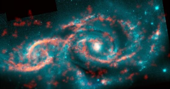 Colisión de galaxias crea una fabulosa formación estelar de 'ojos en el espacio'