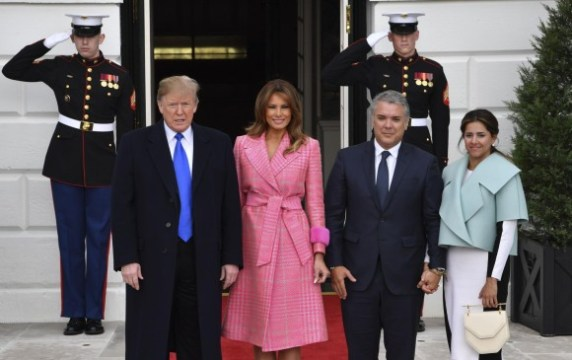 Donald Trump (presidente de Estados Unidos), Melania Trump (primera dama de Estados Unidos), Iván Duque (presidente de Colombia) y Maria Juliana Ruiz (primera dama de Colombia). FOTO: AFP