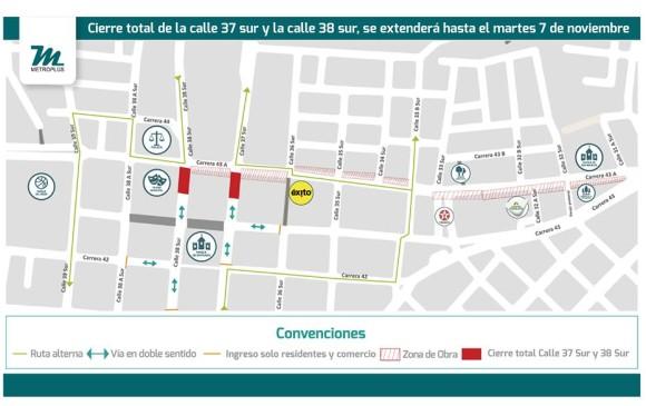 Las calles señaladas en rojo fueron los lugares de los hallazgos arqueológicos durante las excavaciones del Metroplús. MAPA CORTESÍA METROPLÚS