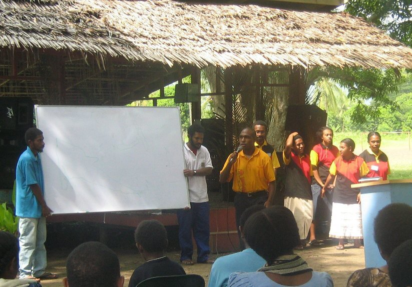 LSC-UPNG outreach team carrying out an awareness at the Markham Valley