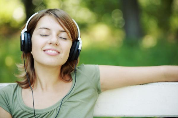 woman listening to music relaxed