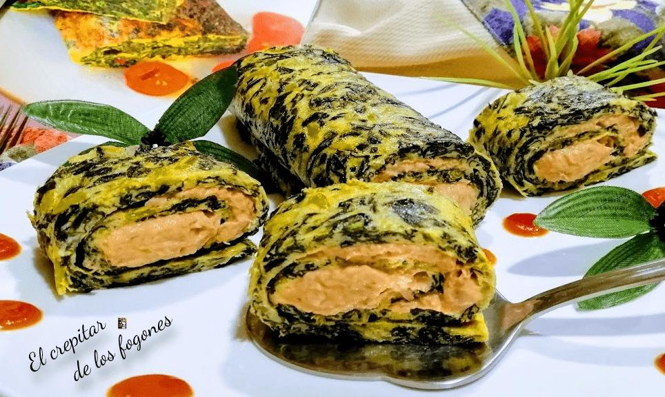 tortilla de espinacas enrollada