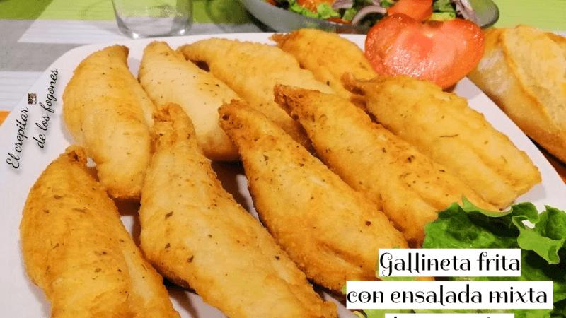 GALLINETA FRITA CON ENSALADA MIXTA DE VEGETALES
