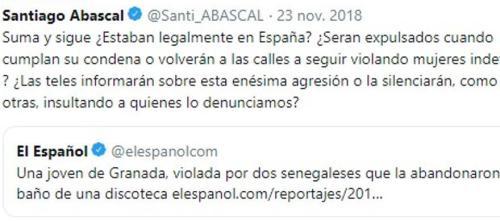 Retuit del juez Alba a un mensaje de Abascal en el que vinculaba una violación con la inmigración irregular.
