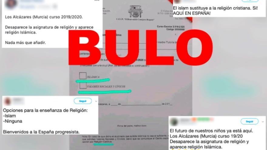 No, un colegio de Los Alcázares (Murcia) no ha retirado la asignatura de religión católica, ni ha sido sustituida por la islámica