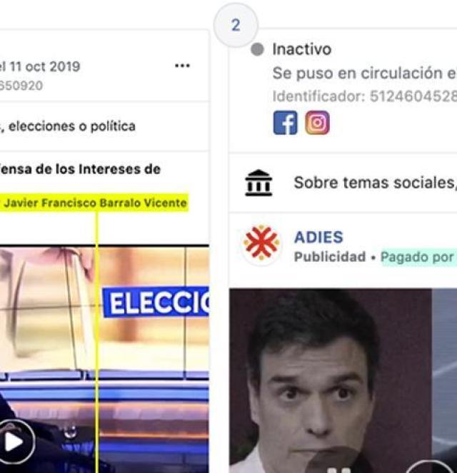 La página de la 'Asociación para la defensa de los intereses de España' borró su perfil y creó uno nuevo para borrar el rastro de Javier Barrallo y su inversión en anuncios políticos, pero estos permanecen accesibles en la herramienta de transparencia de Facebook.