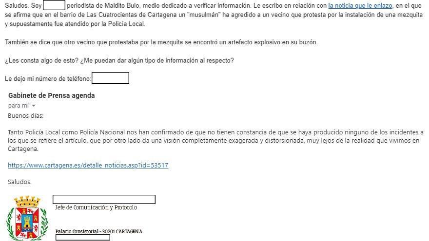 Captura de la respuesta del Ayuntamiento de Cartagena