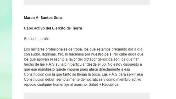 Contribución personal del cabo Marco Santos al manifiesto antifranquista.