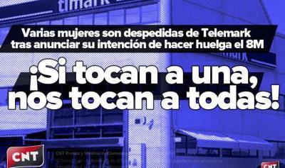 Extracto del cartel de CNT de denuncia del despido de las dos trabajadoras por Telemark.