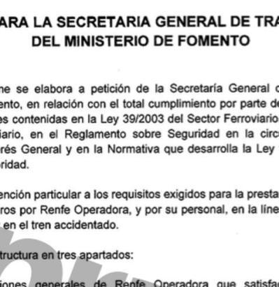 Firma de Antonio Lanchares diciendo que Renfe cumplía con la normativa en la auditoría encargada por Ana Pastor tras el accidente