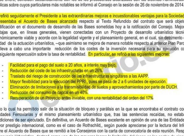 Fragmento del acta del Consejo de Administración del 30 de enero de 2015.