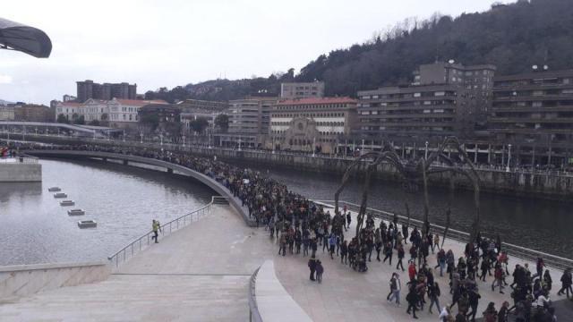 Marcha de mujeres en Bilbao el 8M de 2019.
