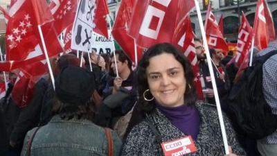Milagros de la Morena Lucas, en una manifestación de Comisiones Obreras.