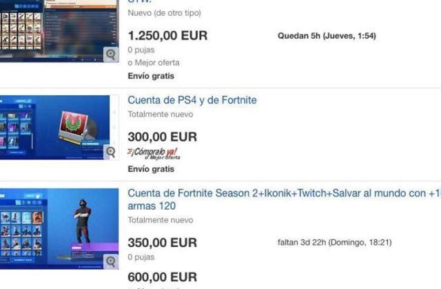 Oferta de cuentas de Fortnite en eBay.