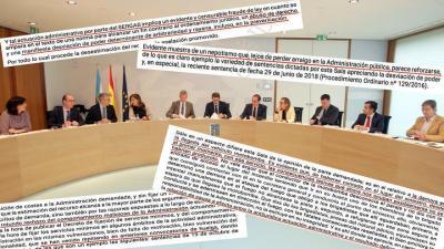 Reunión del Gobierno de Feijóo y fragmentos de sentencias contra la Xunta