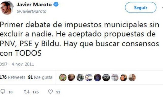 Tuit de Maroto apoyando a Bildu