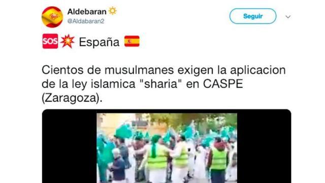 """No, los manifestantes del vídeo de Caspe (Zaragoza) no son musulmanes exigiendo """"la aplicación de la ley islámica sharia"""""""
