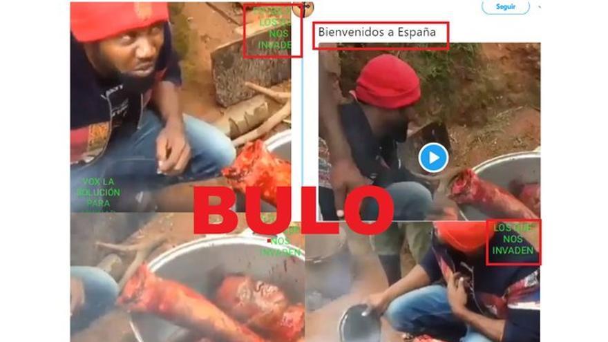 """No un vídeo de """"canibalismo"""" con el mensaje: """"estos son los que nos invaden"""" no es real"""