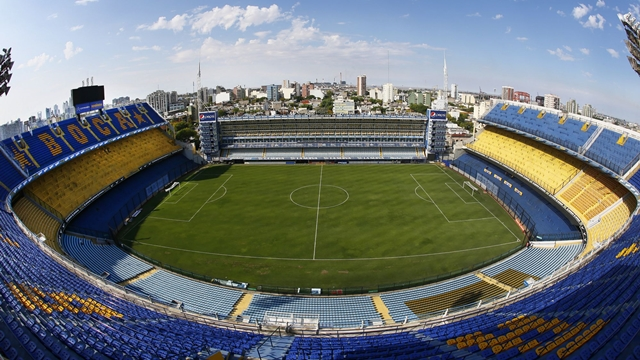 Vista del Estadio Alberto J Armando (Bombonera). Previo al clasico, la Bombonera ya est‡ preparada. 28 de marzo de 2014. Foto: Javier Garcia Martino / Photogamma.