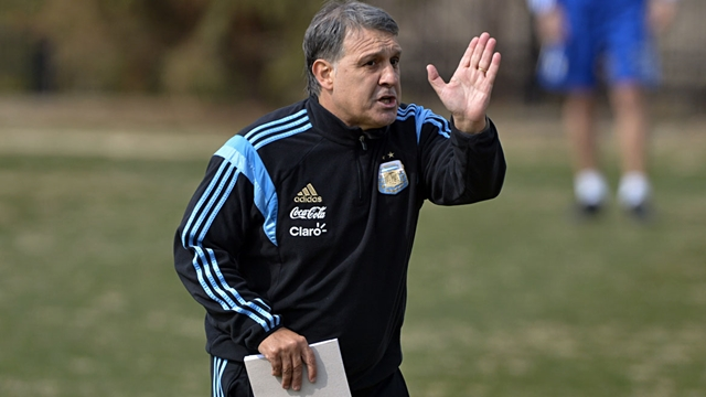 Mar 24, 2015; Washington, DC, USA; Argentina national team manager Gerardo Martino directs his team during practice  at Shaw Field at Georgetown University. Mandatory Credit: Tommy Gilligan-USA TODAY Sports