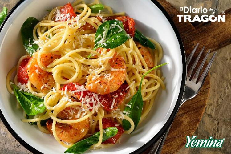 Spaghetti con camarones
