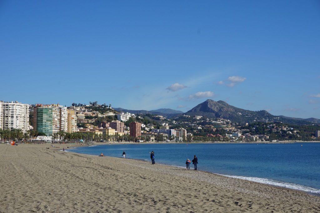 Playa de la Malagueta en invierno