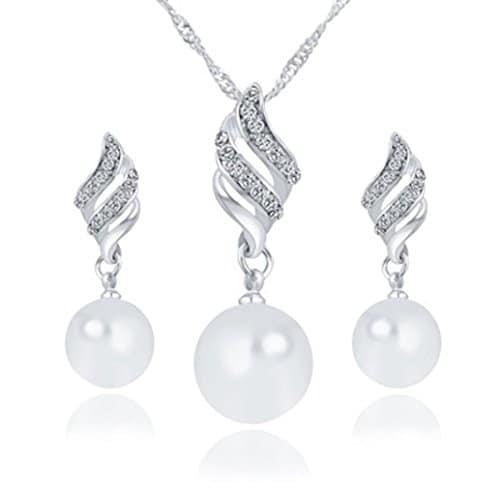 Colliers, Feixiang ♛ 2018Luxe Princesse mariée Ensemble de bijoux en forme de spirale Perle Boucles d'oreille à tige et collier Ensemble, Silver