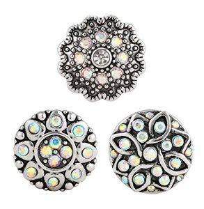 Morella click-button Lot de 3boutons pression pour bijou verspielte Fleurs